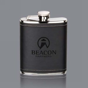 Shelburne Hip Flask - Black 6oz Leatherette