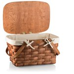Prairie Picnic Basket with Liner, (Natural Wood with Tan Lining