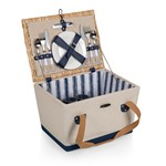 Boardwalk Picnic Basket, (Beige Canvas with Navy Blue Accents)