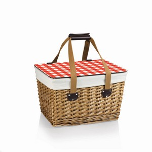Canasta Wicker Basket, (Natural Willow with Red Check Lid & Tan