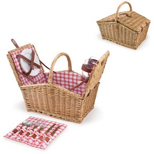 Piccadilly Picnic Basket, (Red White Plaid)