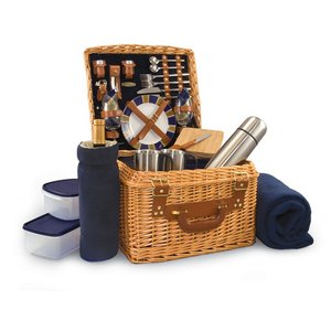 Canterbury Picnic Basket, (Navy with Plaid)
