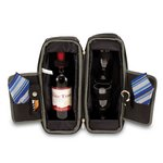 'Estate' Wine Tote, (Black & Grey with Blue Stripes)