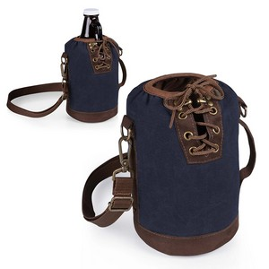 Insulated Growler Tote, (Navy with Brown)