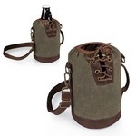 Insulated Growler Tote, (Khaki Green with Brown)