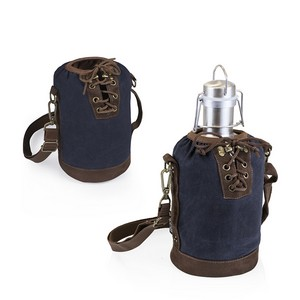 Insulated Navy & Brown Growler Tote with 64-oz. Stainless Steel G