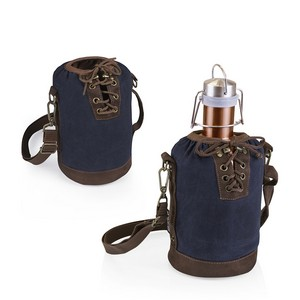 Insulated Navy & Brown Growler Tote with 64-oz. Copper Stainless