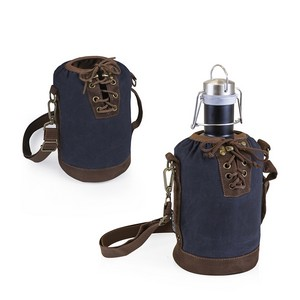Insulated Navy & Brown Growler Tote with 64-oz. Matte Black Stain