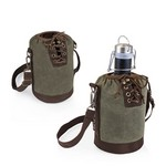 Insulated Growler Khaki Green & Brown Tote with 64-oz. Matte Blac