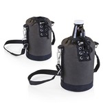Insulated Navy & Brown Growler Tote with 64-oz. Amber Glass Growl