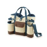 Wine Country Tote-Wine & Cheese Tote, (Tan with Blue & Brown Trim