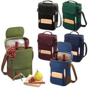 Duet Wine & Cheese Tote, (Pine Green & Olive Green)