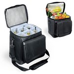 'Cellar' 6-Bottle Wine Carrier & Cooler Tote, (Black with Silver