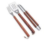 3-Pc BBQ Tote & Tools Set, (Black & Grey with Wooden Tool Handles