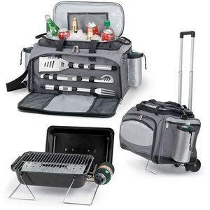 Vulcan Portable Propane BBQ & Cooler Tote with Trolley, (Black