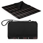 Blanket Tote Outdoor Picnic Blanket, (Black Tartan with Black L
