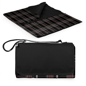 Blanket Tote Outdoor Picnic Blanket, (Black Tartan with Black L