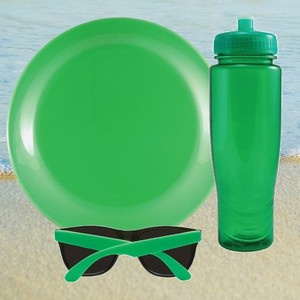 Translucent Water Bottle, Flying Disc and Sunglasses Beach Kit