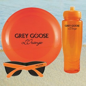 Translucent Orange Water Bottle, Flying Disc and Sunglasses Kit