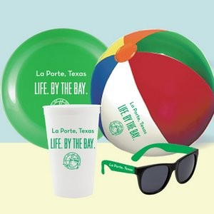 Stadium Cup, Flying Disc, Beach Ball and Promotional Sunglasses